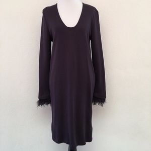 St. John Couture Feather Purple Midi Dress Size 8